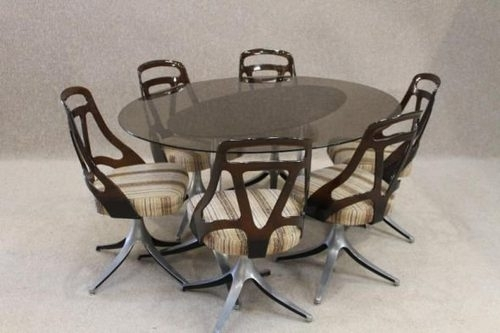 Antiques Atlas – Retro Dining Table And Chairs With Regard To Smoked Glass Dining Tables And Chairs (Image 3 of 25)