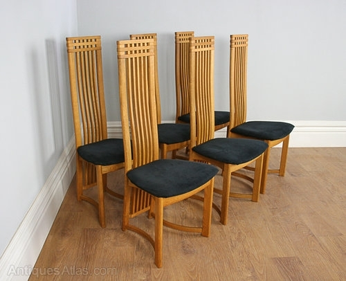 Antiques Atlas – Six Actona Art Deco Oak High Back Dining Chairs Pertaining To High Back Dining Chairs (Image 1 of 25)