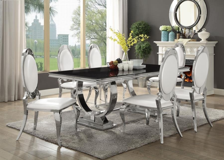 Antoine Collection Dining Room Chrome Metal Base Table Set With Inside Chrome Dining Room Chairs (View 15 of 25)