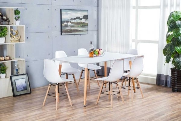 Anton Wooden Beech Rectangle Dining Table And 6 White Eiffel Dsw Within Beech Dining Tables And Chairs (Image 4 of 25)