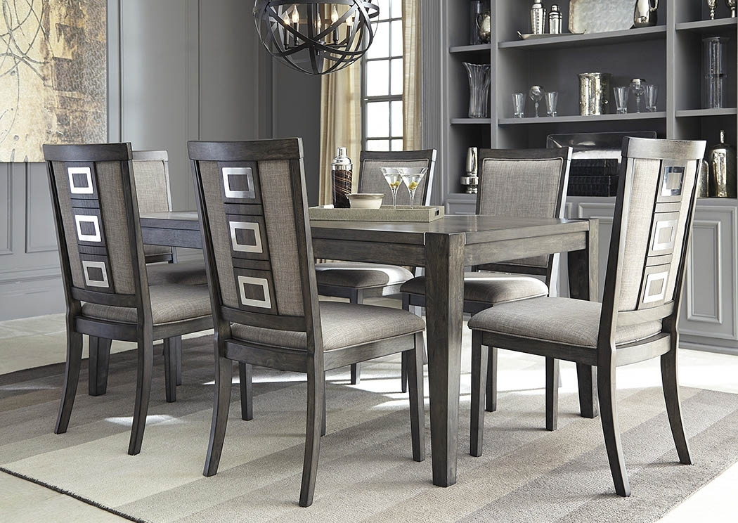 Apex Furniture Chadoni Gray Rectangular Dining Room Extension Table Inside Craftsman 5 Piece Round Dining Sets With Uph Side Chairs (View 15 of 25)