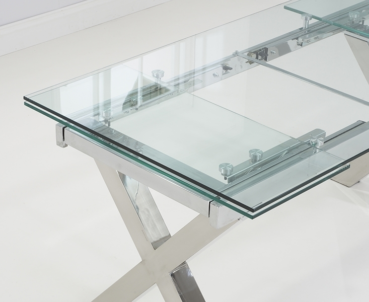 April Glass 160Cm 240Cm Extending Dining Table Inside Glass Folding Dining Tables (Image 4 of 25)