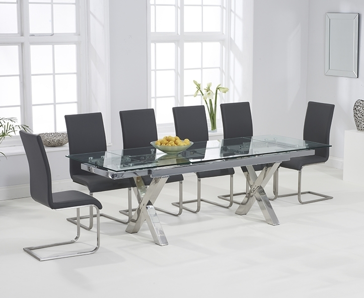 April Glass 160Cm Extending Dining Set With 6 Boston Grey Chairs Intended For Grey Glass Dining Tables (View 17 of 25)