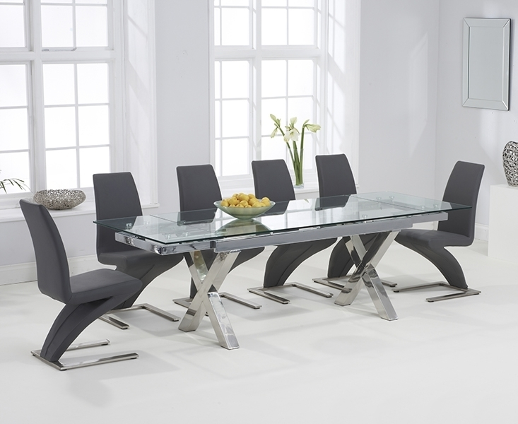 April Glass 160Cm Extending Dining Set With 6 Fusion Z Grey Chairs In Extendable Glass Dining Tables And 6 Chairs (View 7 of 25)