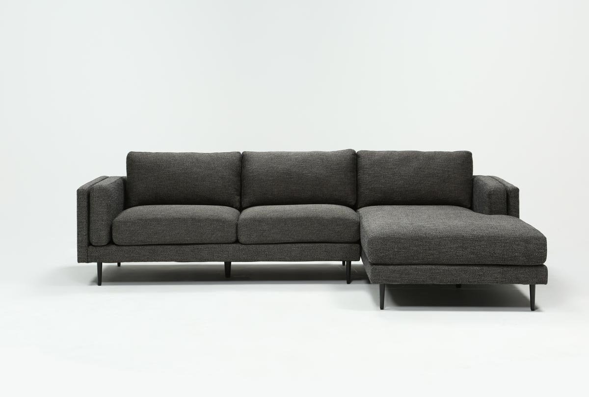 Aquarius Dark Grey 2 Piece Sectional W/raf Chaise | Living Spaces Intended For Aquarius Light Grey 2 Piece Sectionals With Laf Chaise (Image 4 of 25)