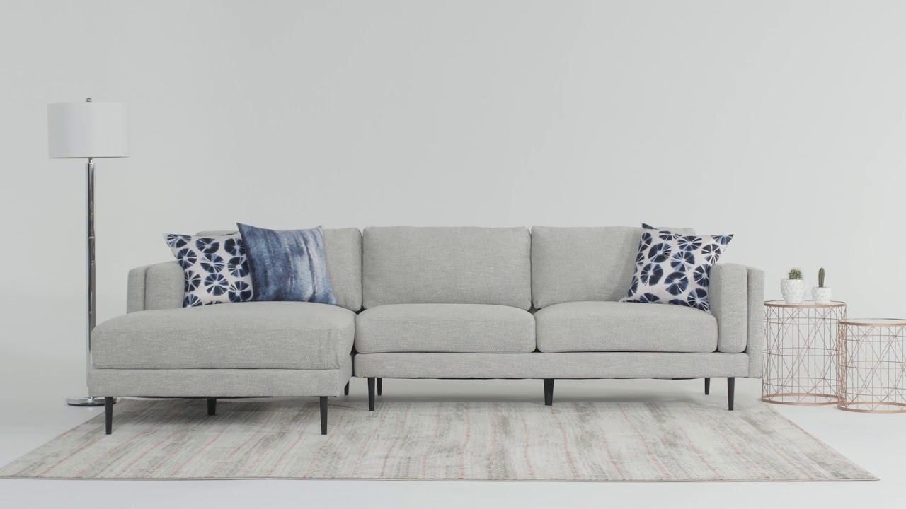 Aquarius Sectional | Living Spaces – Youtube Regarding Aquarius Light Grey 2 Piece Sectionals With Laf Chaise (Image 7 of 25)