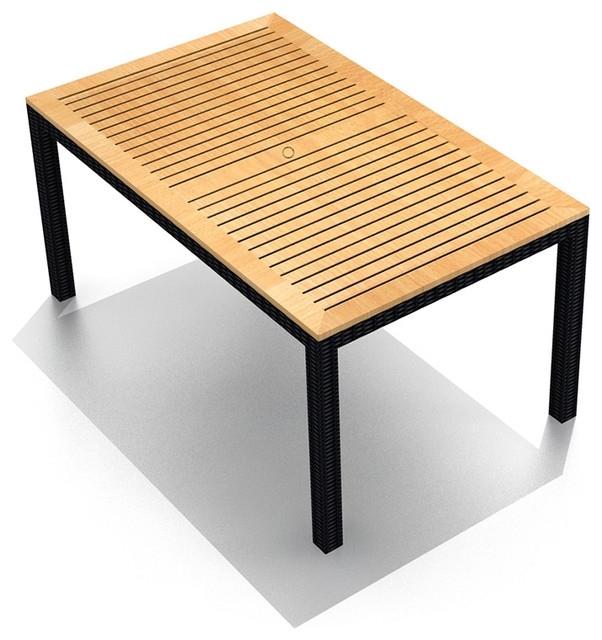 Arbor Outdoor Wicker Teak 8 Seater Rectangular Dining Table Pertaining To 8 Seat Outdoor Dining Tables (Image 11 of 25)