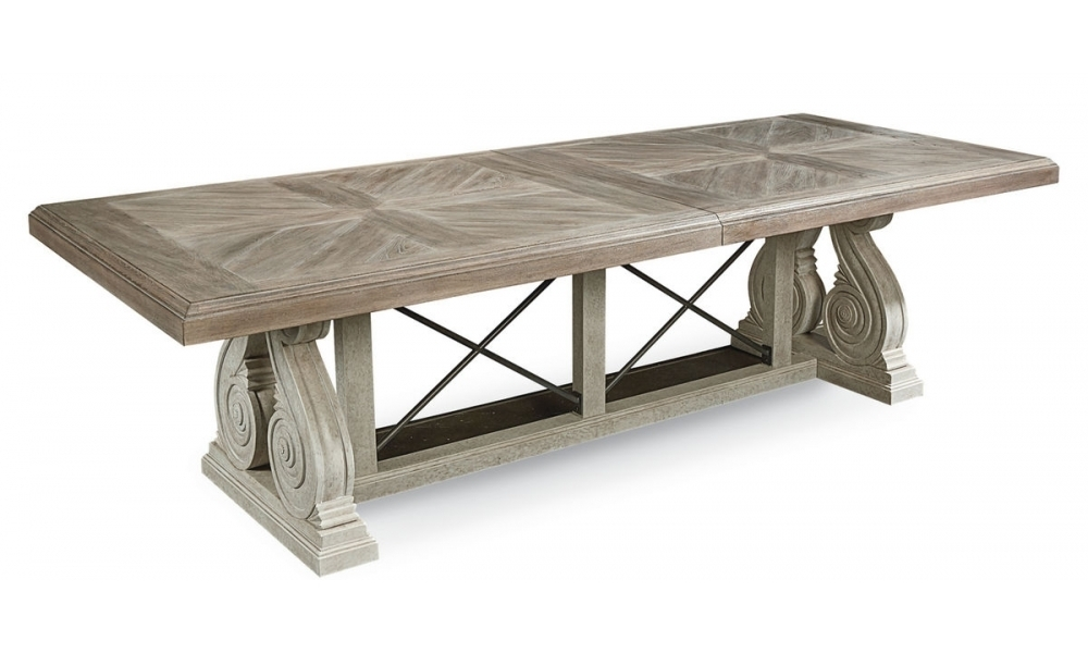 Arch Salvage Pearce Dining Table With Parquet 7 Piece Dining Sets (Image 6 of 25)