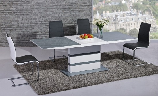 Arctic Grey And White High Gloss Extending Dining Table Dtx 2104Gw Inside High Gloss White Extending Dining Tables (Image 2 of 25)