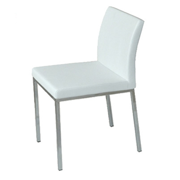 Aria Chrome Dining Chair In White Leatherette   Faux Leather Chairs With Regard To Chrome Dining Chairs (Image 2 of 25)