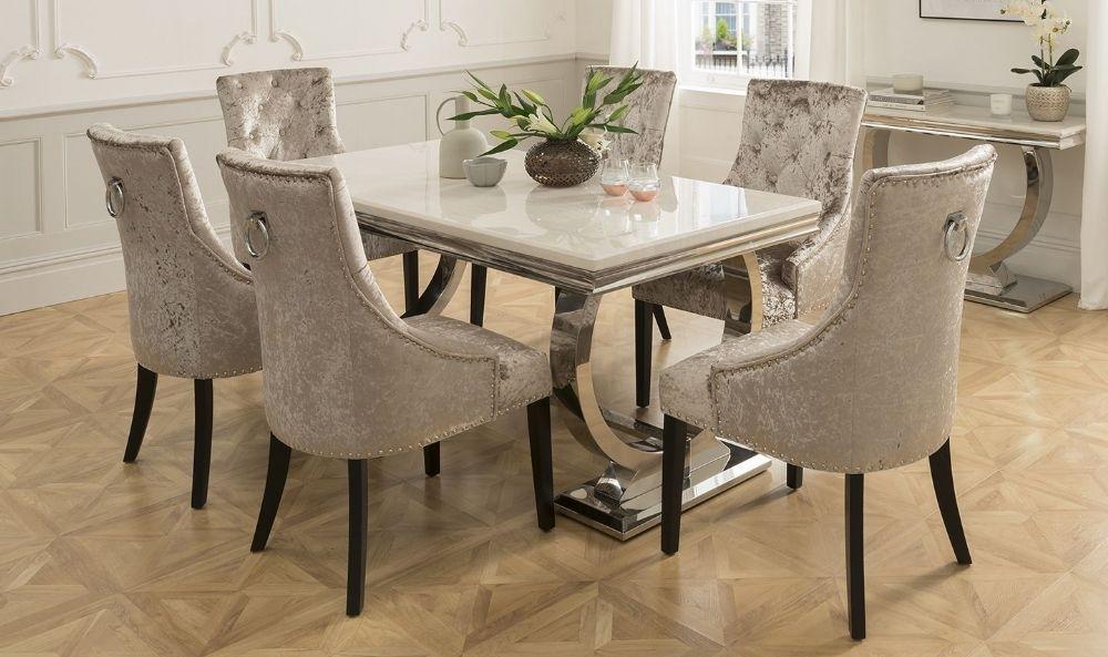 Arianna 180Cms Cream Marble Dining Table & Six Chairs Pertaining To Dining Tables And Six Chairs (View 5 of 25)