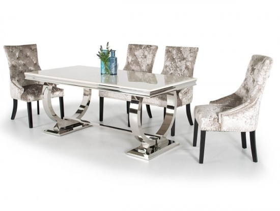 Arianna Cream 180Cm Marble Dining Table Ari 180 Cr N| Morale Home Throughout 180Cm Dining Tables (Image 3 of 25)
