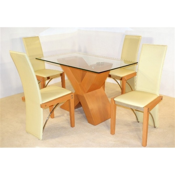 Arizona Beech Dining Table + 4 Chairs Throughout Beech Dining Tables And Chairs (Image 5 of 25)