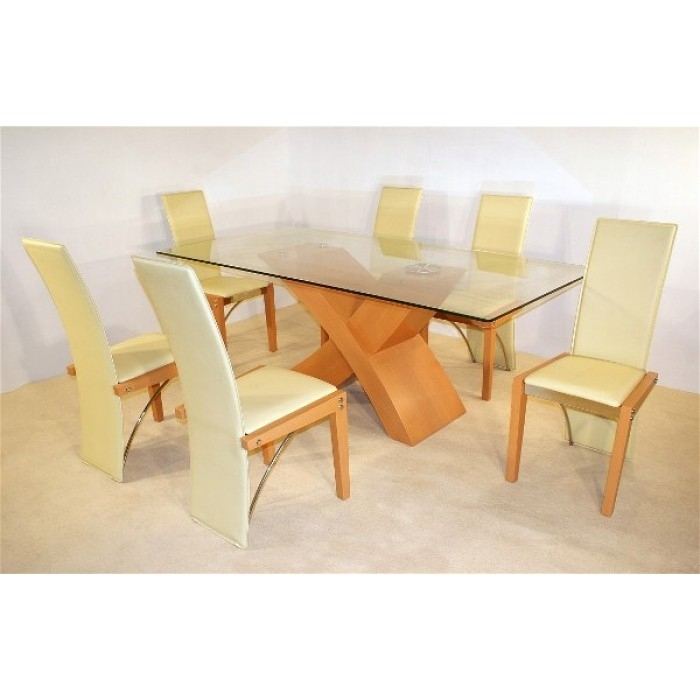 Arizona Beech Dining Table + 6 Chairs Within Beech Dining Tables And Chairs (View 25 of 25)
