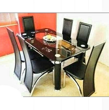 Armada 6 Seater Curved Tempered Glass Dining Table With 6 Leather Chairs Within Curved Glass Dining Tables (Image 2 of 25)