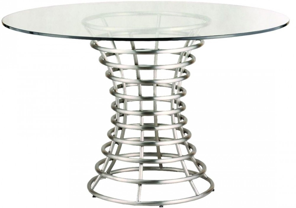 Armen Living Ibiza Brushed Stainless Steel Dining Table With Clear Inside Brushed Steel Dining Tables (Image 1 of 25)