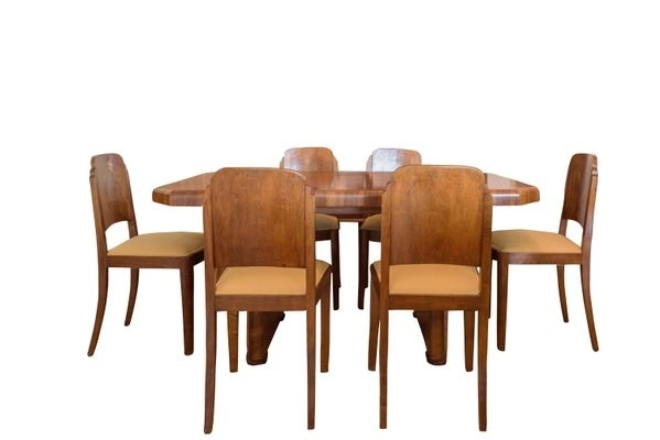 Art Deco Walnut Dining Table & 6 Chairs, 1920S For Sale At Pamono Throughout Walnut Dining Table And 6 Chairs (Image 5 of 25)