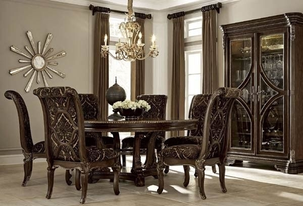 Art Furniture – Gables 8 Piece Round Dining Room Set – 245225 1707 With Valencia 72 Inch 7 Piece Dining Sets (Image 4 of 25)