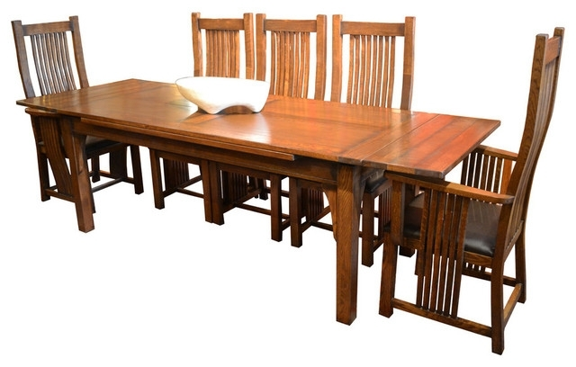 Arts And Crafts Oak Dining Table With 2 Leaves, 8 High Back Chairs Regarding Craftsman 7 Piece Rectangle Extension Dining Sets With Uph Side Chairs (Image 4 of 25)