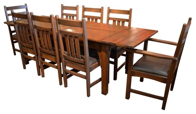 Arts And Crafts Oak Dining Table With 2 Leaves And 8 Dining Chairs Inside Craftsman 7 Piece Rectangle Extension Dining Sets With Arm & Side Chairs (Image 4 of 25)