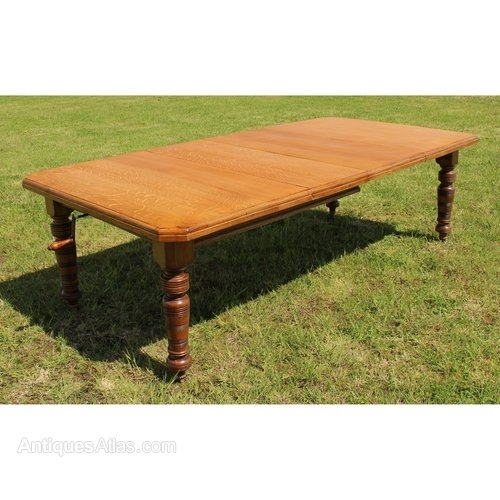Arts & Crafts Oak Extending Dining Table 8Ft/seats 10 – Antiques Atlas Throughout Extending Dining Table With 10 Seats (Image 6 of 25)