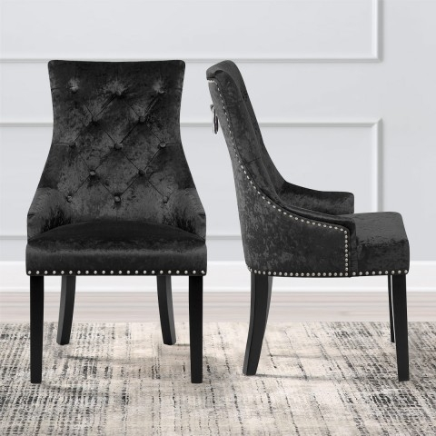Ascot Dining Chair Black Velvet – Atlantic Shopping With Regard To Velvet Dining Chairs (Image 3 of 25)