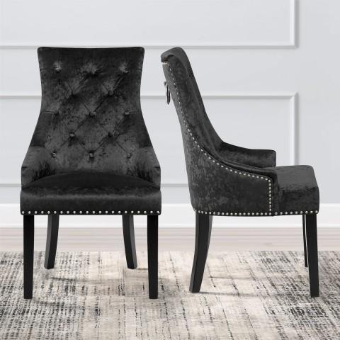 Ascot Dining Chair Black Velvet – Atlantic Shopping With Regard To Velvet Dining Chairs (Image 3 of 25)