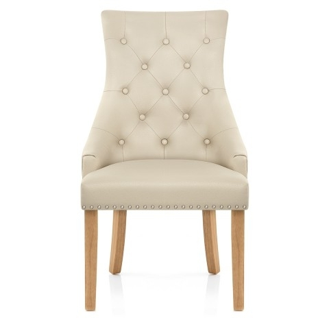 Ascot Oak Dining Chair Cream Leather – Atlantic Shopping In Oak Leather Dining Chairs (Image 3 of 25)