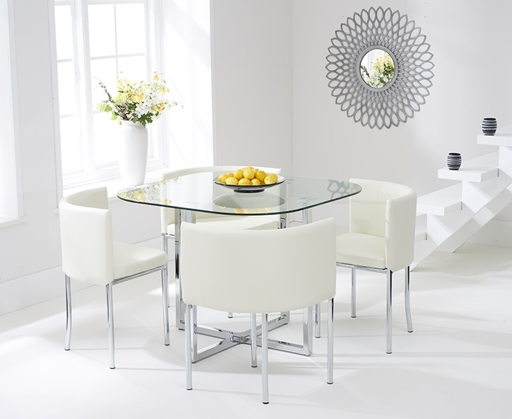 Algarve Glass Stowaway Dining Table With Grey High Back Stools