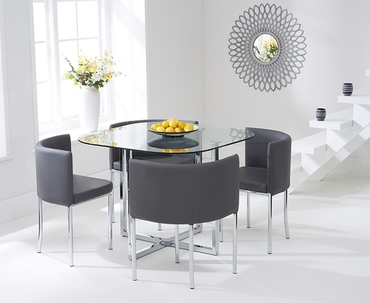 Ascot Stowaway Glass Dining Set With 4 Grey Chairs Inside Grey Glass Dining Tables (Image 2 of 25)