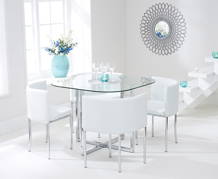 Ascot Stowaway Glass Dining Set With 4 White Chairs For Glass Dining Tables White Chairs (Image 4 of 25)