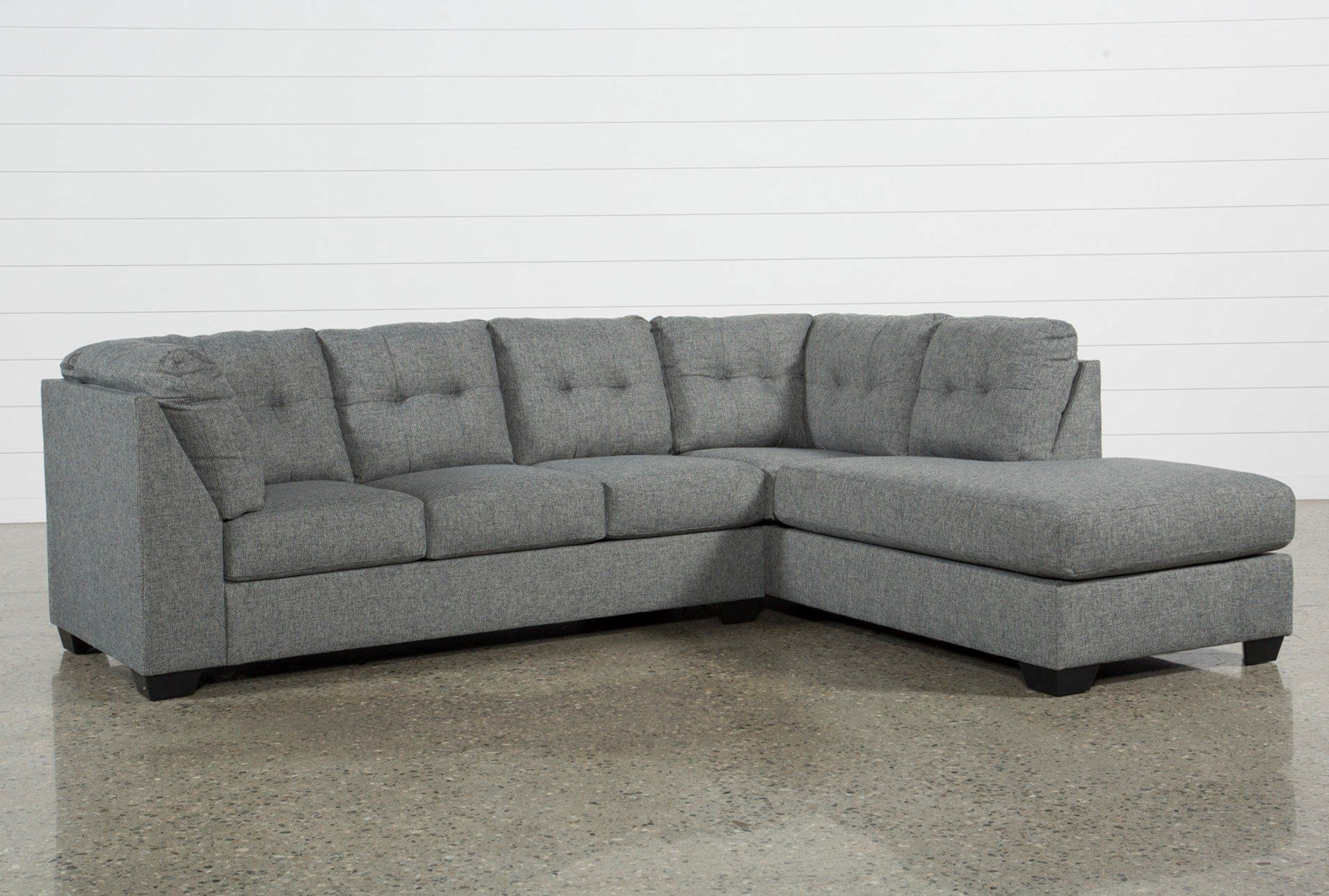 Ashley Arrowmask 2 Piece Sectional W/sleeper & Right Facing Chaise Pertaining To Aquarius Dark Grey 2 Piece Sectionals With Raf Chaise (Image 4 of 25)