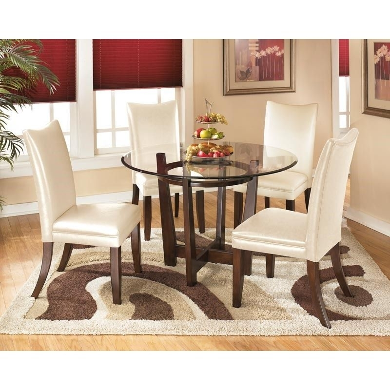 Ashley Charrell Ivory Faux Leather 5 Piece Dining Set | Kitchen + With Candice Ii 5 Piece Round Dining Sets (View 24 of 25)
