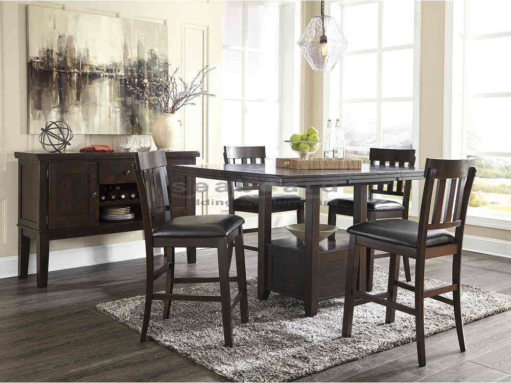 Ashley D596 Haddigan Dark Brown Pub Table Set - Seaboard Bedding within Valencia 5 Piece Round Dining Sets With Uph Seat Side Chairs