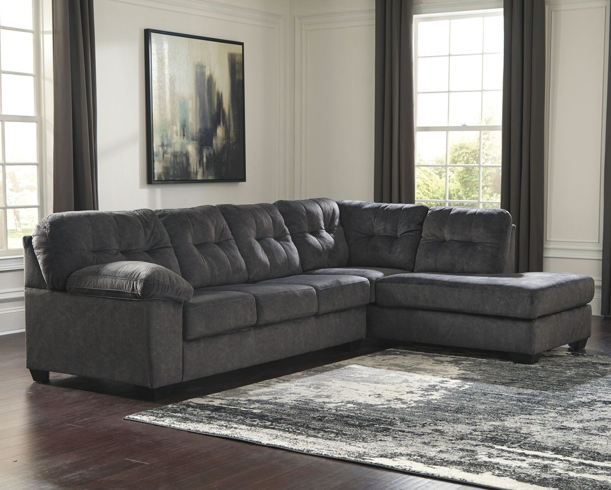 Ashley Furniture Accrington 2 Piece Sectional With Raf Chaise In Within Aspen 2 Piece Sectionals With Laf Chaise (Image 2 of 25)