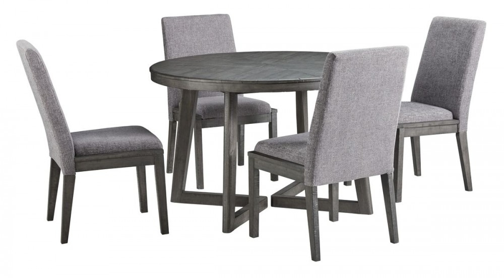 Ashley Furniture Besteneer Round Dining Set In Dark Grey | Local With Jaxon 5 Piece Round Dining Sets With Upholstered Chairs (View 15 of 25)