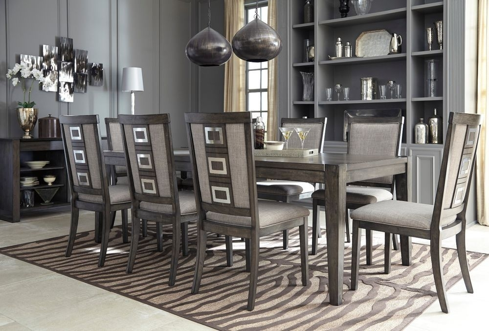 Ashley Furniture Chadoni 9 Piece Smokey Grey Dining Room Set D624 Inside Craftsman 9 Piece Extension Dining Sets With Uph Side Chairs (View 13 of 25)