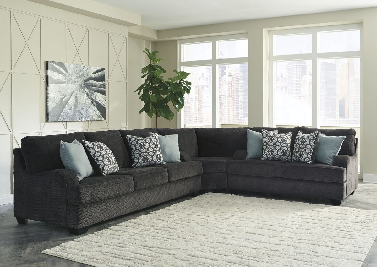 Ashley Furniture Charenton 3 Piece Sectional In Charcoal | Local Within Sierra Foam Ii 3 Piece Sectionals (Image 6 of 25)
