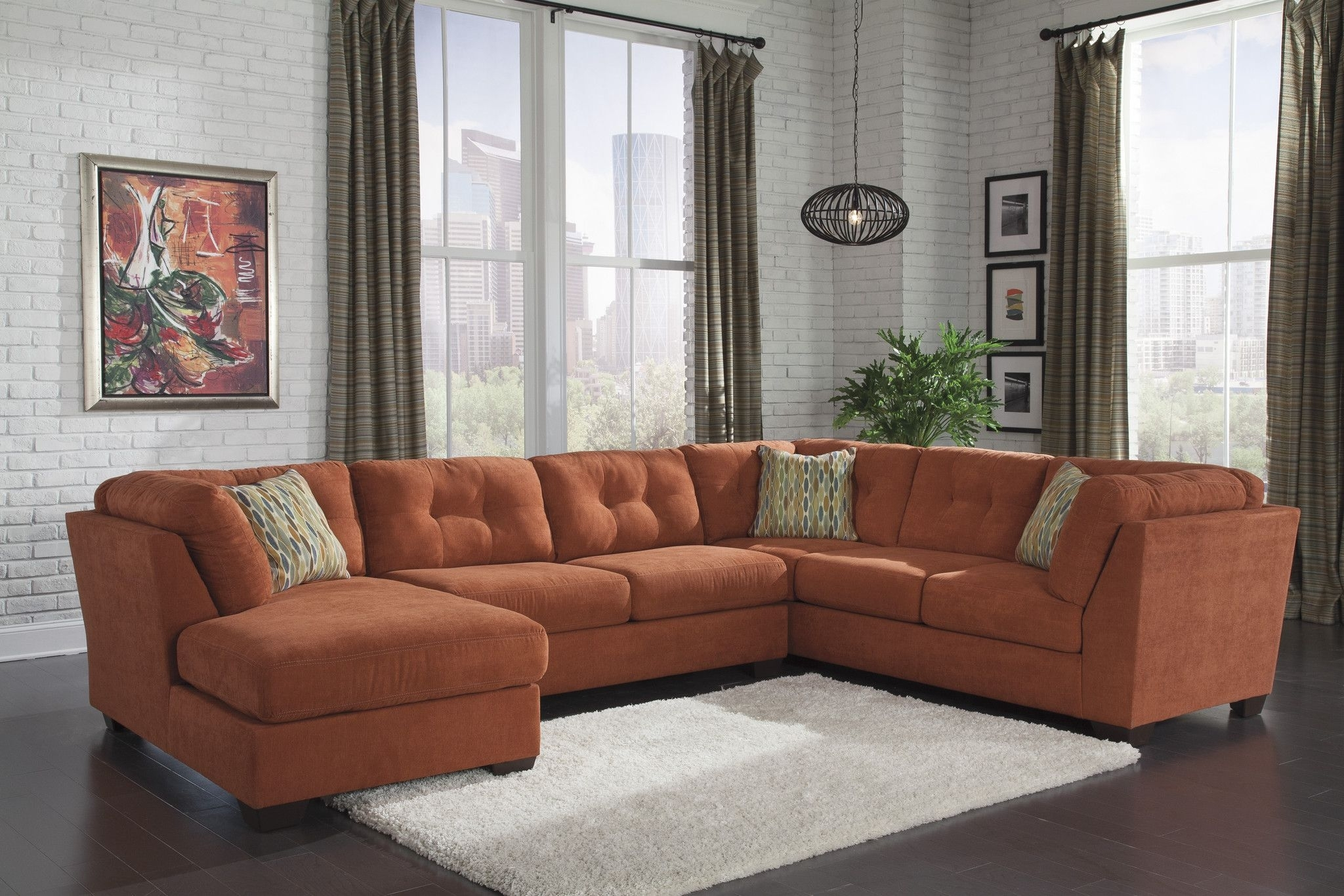 Ashley Furniture Delta City Orange Sectional Left 1970116+34+38 Pertaining To Turdur 3 Piece Sectionals With Laf Loveseat (Image 3 of 25)