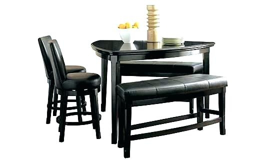 Ashley Furniture Dining Table Set Room Bench Counter Height From Inside Hyland 5 Piece Counter Sets With Bench (Image 4 of 25)