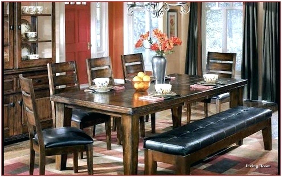 Ashley Furniture Dining Tables Furniture Bench Furniture Dining In Hyland 5 Piece Counter Sets With Bench (Image 5 of 25)