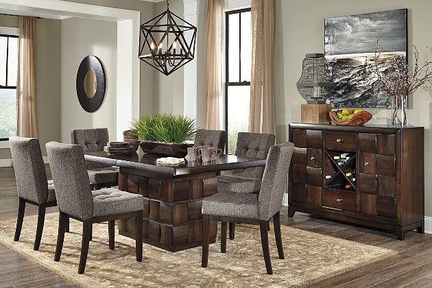 Ashley Furniture Home Store Chanella Dark Brown Modern Dining Set Inside Jaxon 7 Piece Rectangle Dining Sets With Upholstered Chairs (Image 9 of 25)