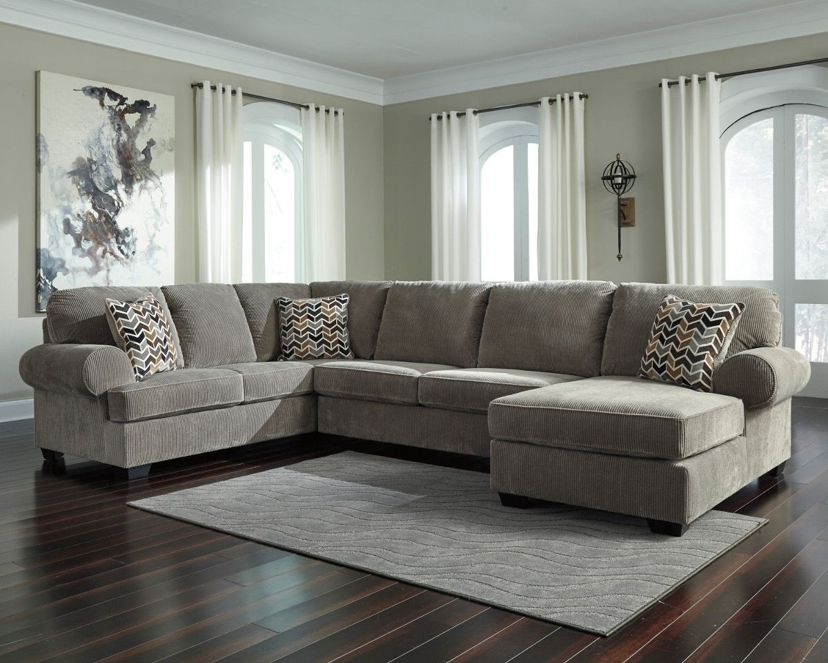 Ashley Furniture Jinllingsly 3 Piece Sectional With Raf Chaise In In Sierra Foam Ii 3 Piece Sectionals (Image 9 of 25)
