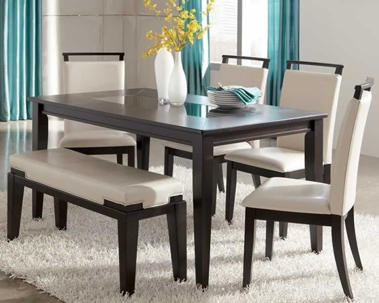 Ashley Furniture Kitchen Tables | Trishelle Contemporary Dining Set Pertaining To Ina Matte Black 60 Inch Counter Tables With Frosted Glass (Image 2 of 25)