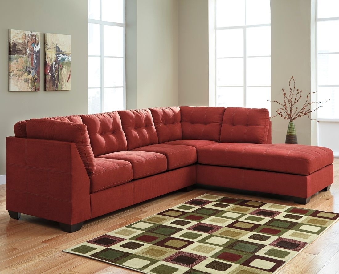 Ashley Furniture Maier 2 Piece Sectional In Sienna With Raf Chaise Intended For Aspen 2 Piece Sleeper Sectionals With Laf Chaise (Image 5 of 25)
