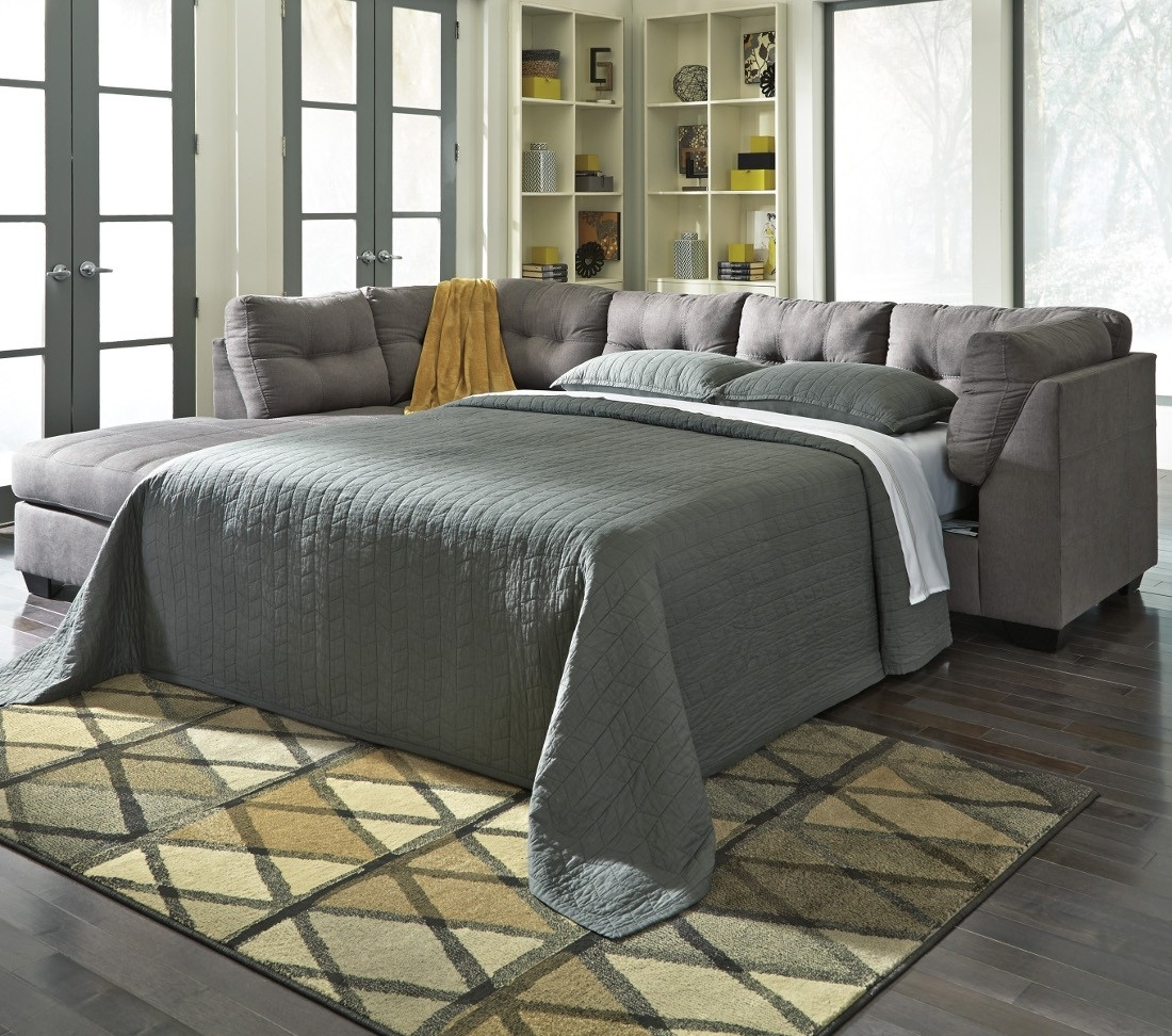Ashley Furniture Maier 2 Piece Sleeper Sectional In Charcoal With With Regard To Aspen 2 Piece Sleeper Sectionals With Laf Chaise (Image 6 of 25)