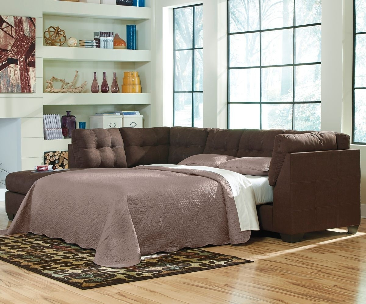 Ashley Furniture Maier 2 Piece Sleeper Sectional In Walnut With Laf Regarding Aspen 2 Piece Sleeper Sectionals With Laf Chaise (Image 7 of 25)