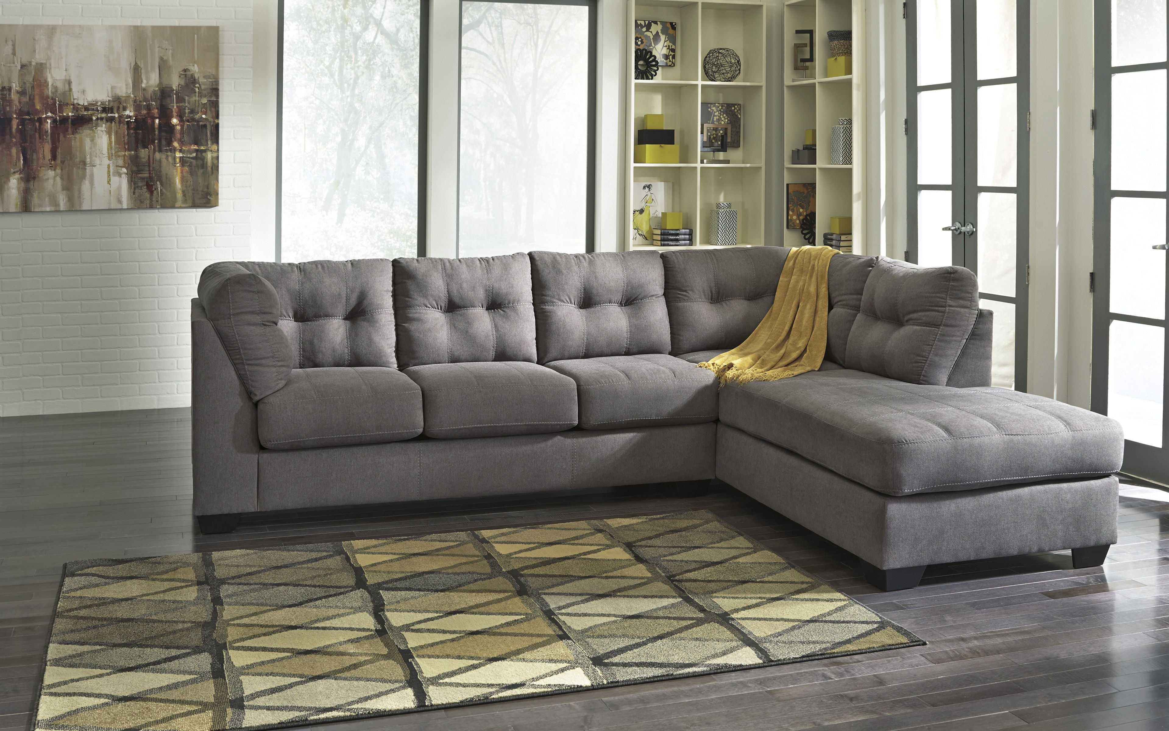 Ashley Furniture Maier Charcoal Raf Chaise Sectional | The Classy Home In Lucy Dark Grey 2 Piece Sleeper Sectionals With Raf Chaise (Image 2 of 25)