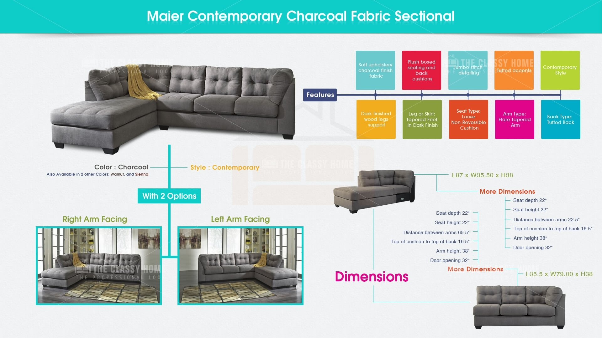 Ashley Furniture Maier Charcoal Raf Chaise Sectional | The Classy Home Within Lucy Grey 2 Piece Sectionals With Raf Chaise (Image 6 of 25)