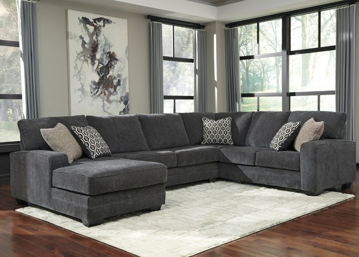 Ashley Furniture Tracling 3 Piece Sectional With Laf Chaise In Slate With Sierra Foam Ii 3 Piece Sectionals (Image 11 of 25)